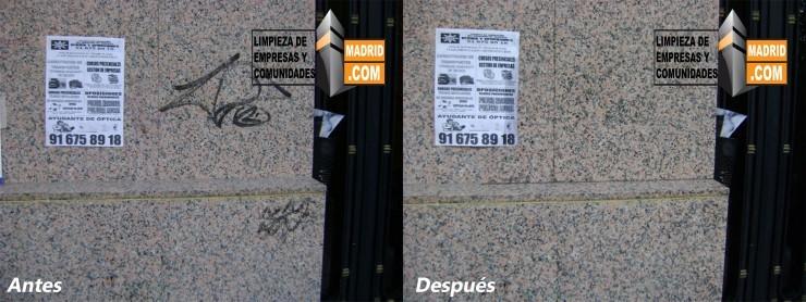 Limpieza de Graffitis en Fachadas de Granito