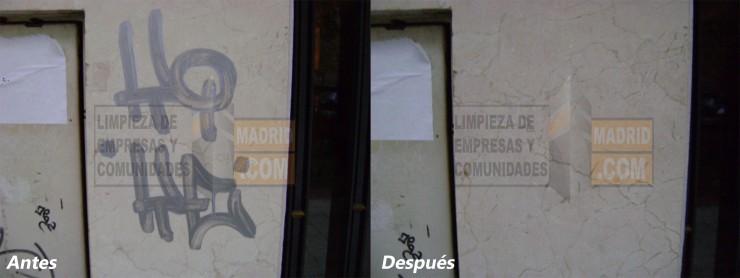 Limpieza de Graffitis en Fachadas de Mármol